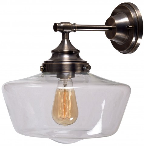 Cambridge Aged Metal With Clear Glass 1 Light Sconce