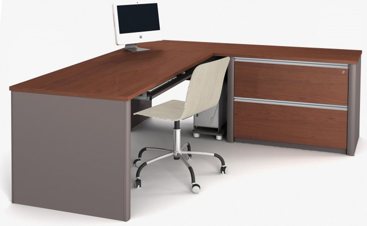 Connexion Bordeaux & Slate L-Shaped Workstation with Oversized Pedestal