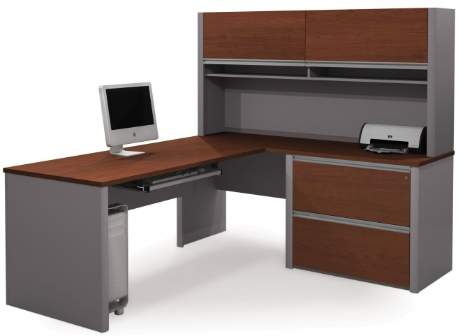Connexion Bordeaux & Slate L-Shaped Workstation with Hutch and Oversized Pedestal
