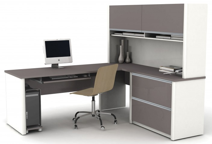 Connexion Slate & Sandstone L-Shaped Workstation with Hutch and Oversized Pedestal
