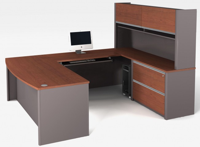 Connexion Bordeaux & Slate U-Shaped Workstation Set with Hutch and Oversized Pedestal