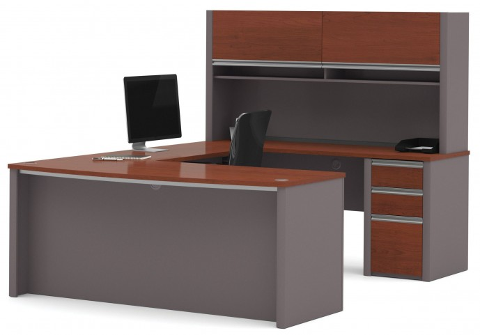 Connexion Bordeaux & Slate U-Shaped Workstation Set with Hutch and Small Pedestal