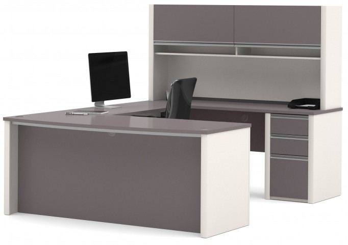 Connexion Slate & Sandstone U-Shaped Workstation Set with Hutch and Small Pedestal