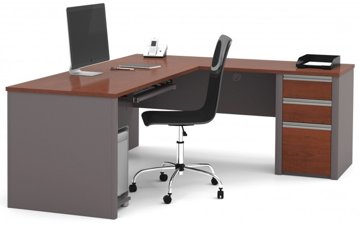 Connexion Bordeaux & Slate L-Shaped Workstation