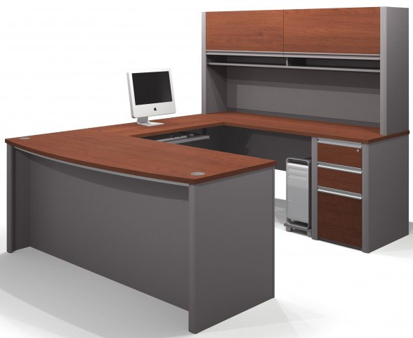 Connexion Bordeaux & Slate U-Shaped Workstation with Small Pedestal