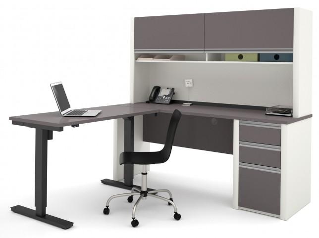 Connexion Slate & Sandstone L-Desk With Hutch