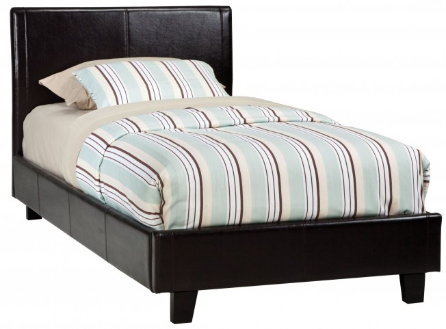New York Brown Twin Upholstered Bed
