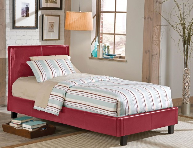 New York Red Twin Upholstered Bed