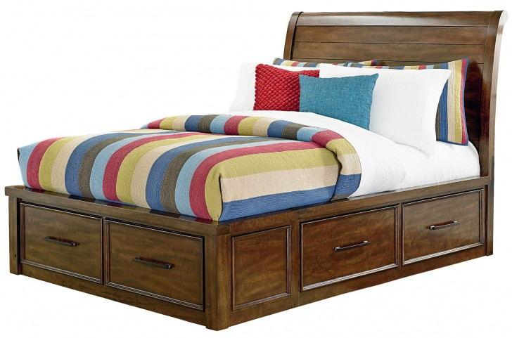 Cameron Youth Warm Tobacco Brown Full Sleigh Storage Bed