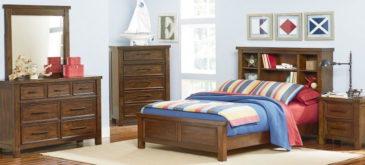 Cameron Youth Warm Tobacco Brown Youth Bookcase Bedroom Set