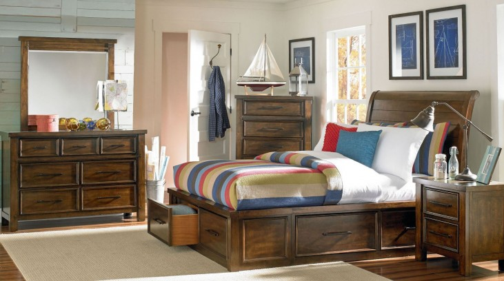 Cameron Burnished Tobacco Sleigh Storage Bedroom Set