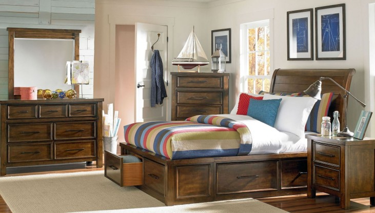 Cameron Youth Warm Tobacco Brown Youth Sleigh Storage Bedroom Set