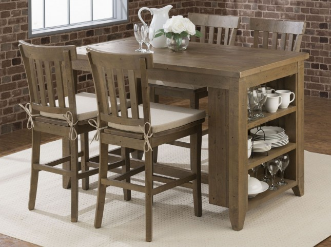 Slater Mill Light Brown Shelf Storage Counter Height Dining Room Set