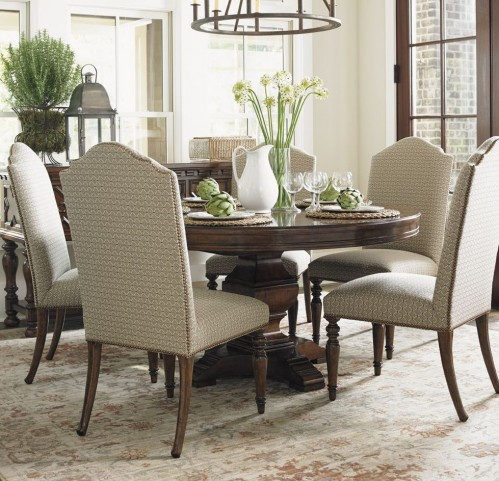 Coventry Hills Autumn Brown Ridgeview Round Dining Room Set