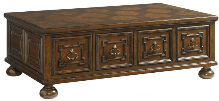 Coventry Hills Autumn Brown Pine Valley Storage Cocktail Table