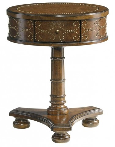 Coventry Hills Autumn Brown Shelton Round End Table