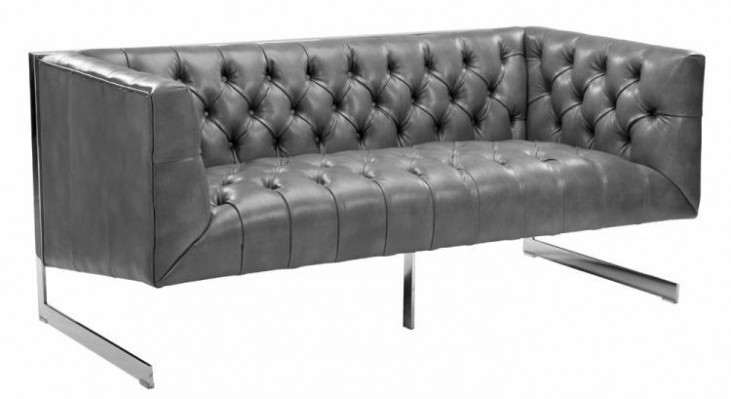 Viper Gray Leather Loveseat