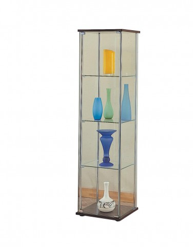 Cappuccino Glass Curio Cabinet with Cappuccino Top/Bottom 950172