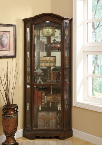 950175 Brown Corner Curio Cabinet