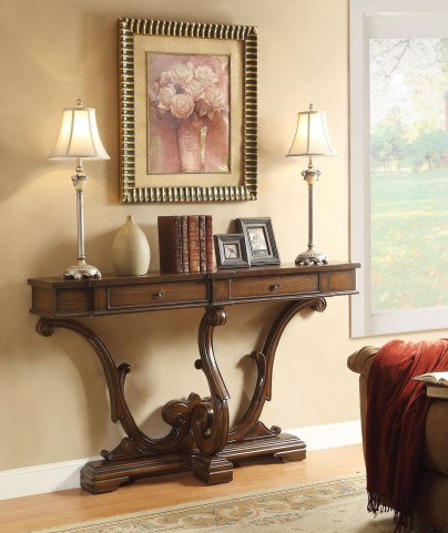 2 Drawer Brown Console Table