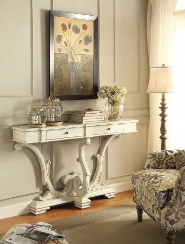 2 Drawer Antique White Console Table