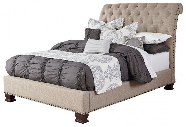 Charleston Burnished Tobacco Queen Upholstered Bed