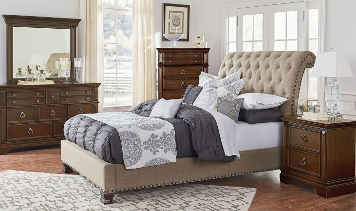 Charleston Burnished Tobacco Upholstered Bedroom Set