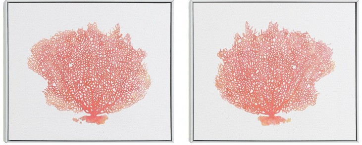 Coral Reef Tree Wall Art With Frame Set of 2