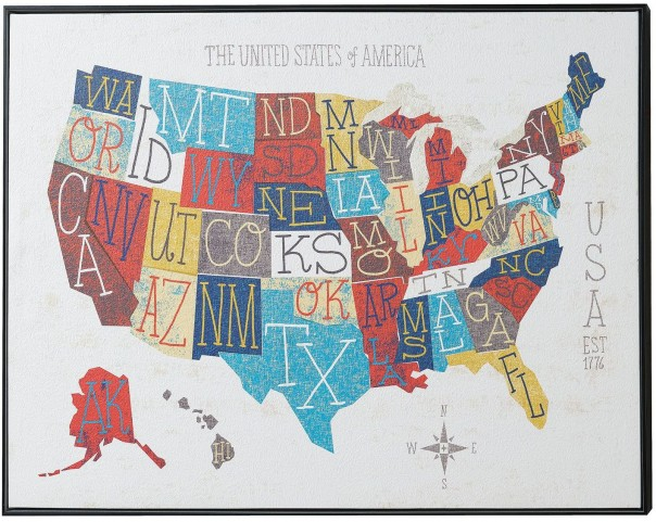 50 States Wall Art With Frame