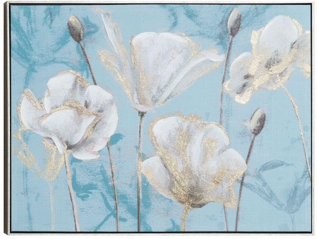 Silvery Blossom Wall Art With Frame