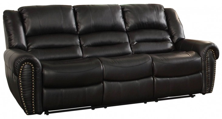 Center Hill Black Power Double Reclining Sofa