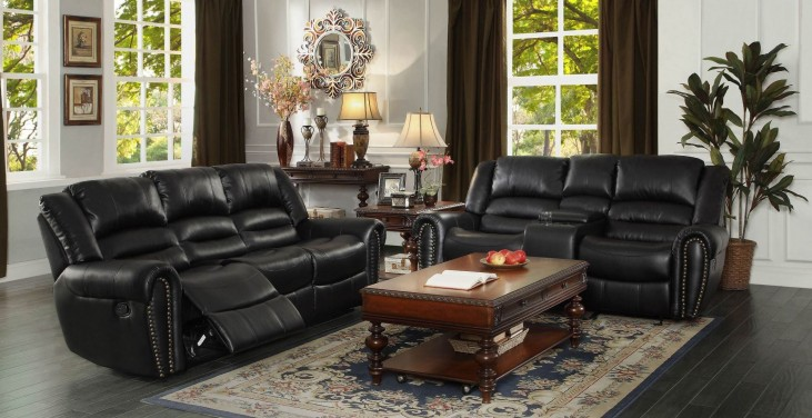 Center Hill Black Power Double Reclining Living Room Set