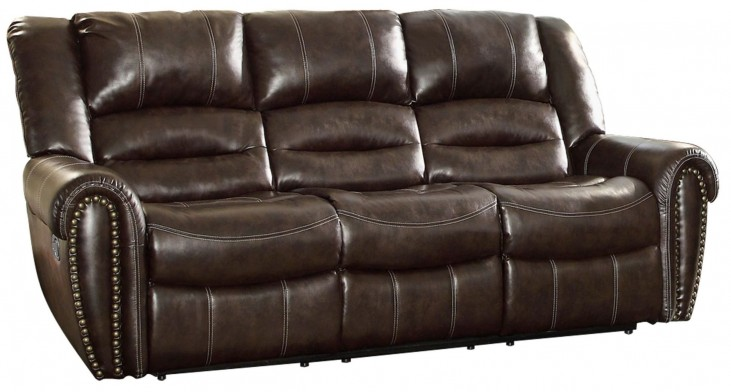 Center Hill Dark Brown Power Double Reclining Sofa