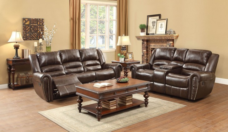 Center Hill Dark Brown Power Double Reclining Living Room Set