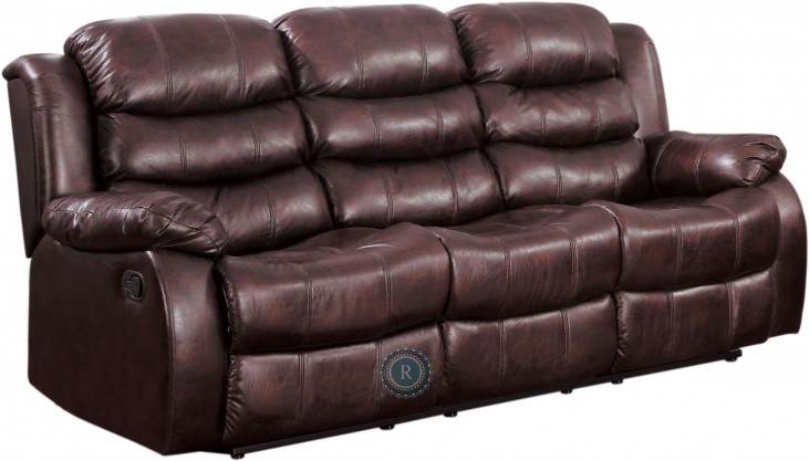 Smithee Burgundy Double Reclining Sofa