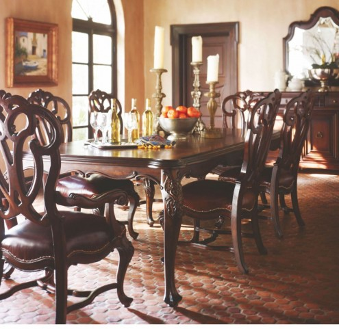 Costa Del Sol Dark Woodtone Gacela Leaping Stag Dining Room Set