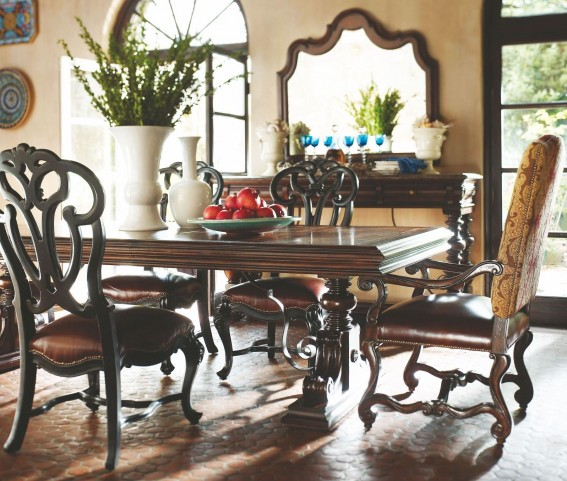 Costa Del Sol Dark Woodtone Palazzo Principale Dining Room Set