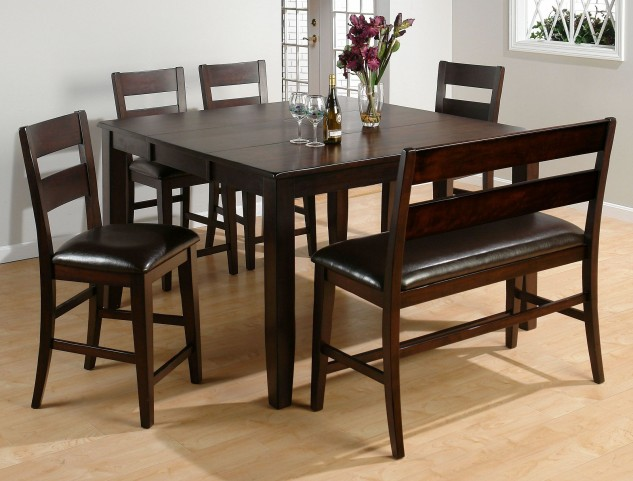 Dark Rustic Prairie Extendable Counter Height Dining Room Set