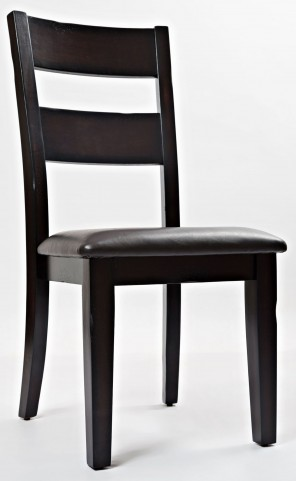 Dark Rustic Prairie Upholstered Ladderback Chair Set of 2