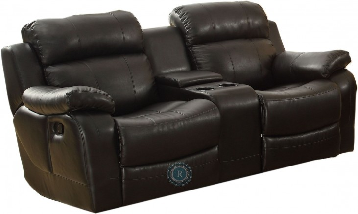 Marille Black Double Glider Reclining Loveseat with Center Console