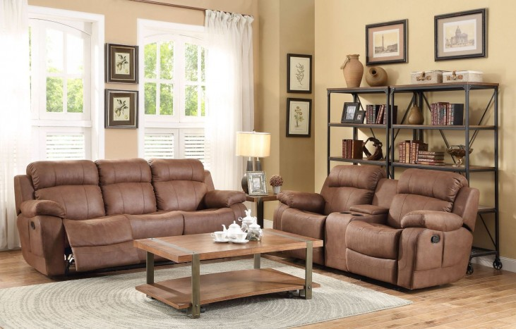 Marille Dark Brown Double Reclining Living Room Set