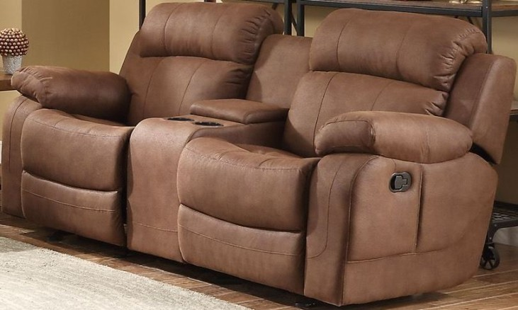 Marille Dark Brown Double Glider Reclining Console Loveseat