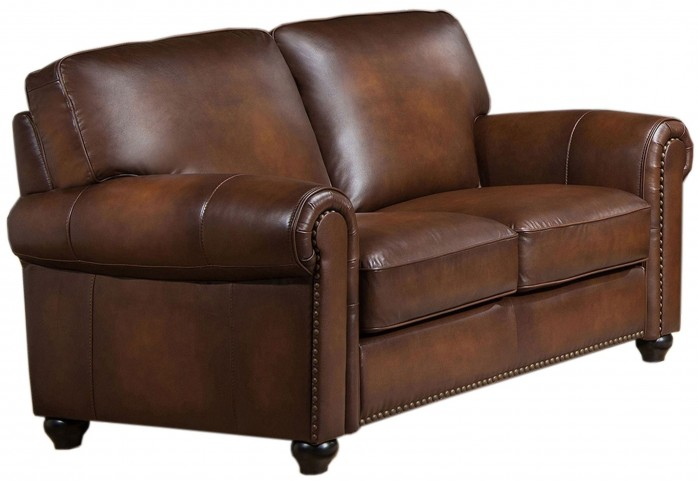 Royale Camel Brown Leather Loveseat