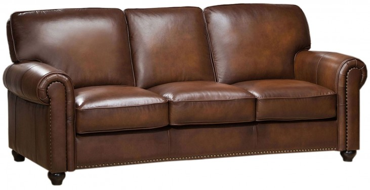 Royale Camel Brown Leather Sofa