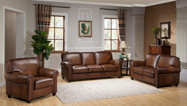Royale Camel Brown Leather Living Room Set
