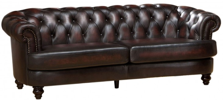 Mario Brown Leather Sofa