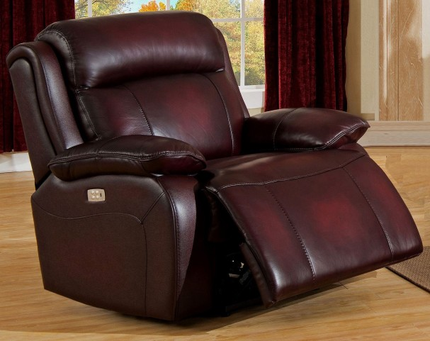 Faraday Deep Red Leather Adjustable Headrest Power Recliner