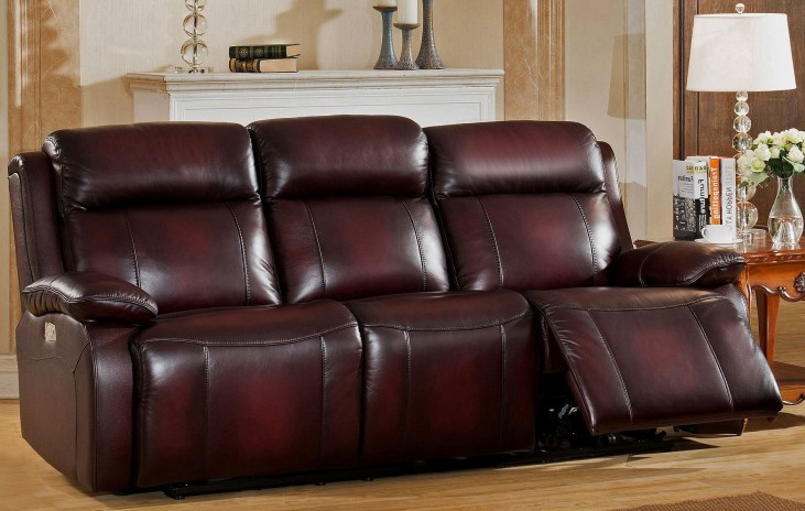 Faraday Deep Red Leather Adjustable Headrest Power Reclining Sofa