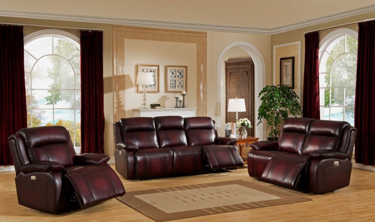 Faraday Deep Red Leather Power Reclining Living Room Set