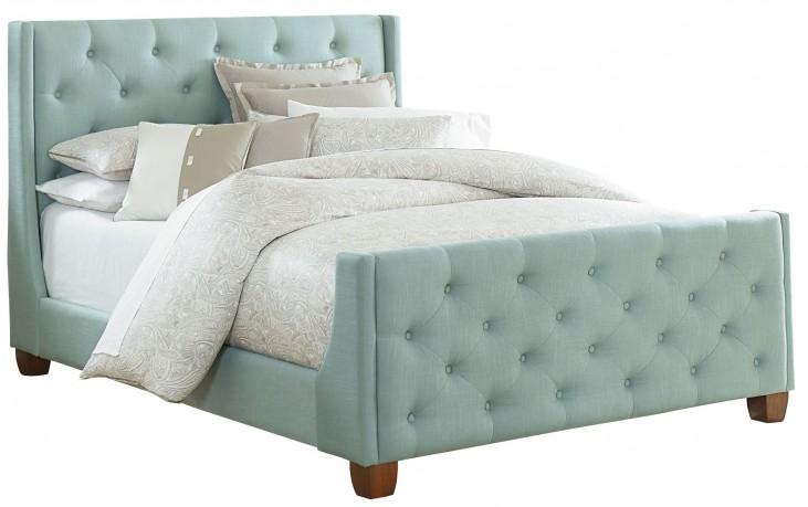 Carmen Blue King Upholstered Bed